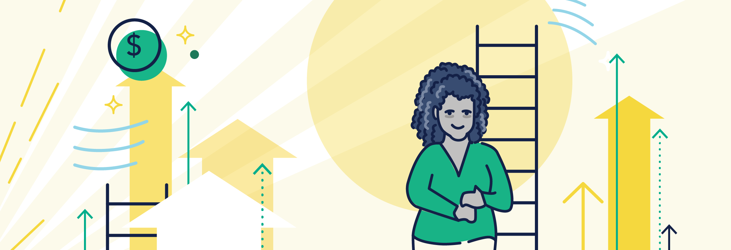 Woman in green shirt stands next to a ladder and is surrounded by arrows pointed up. A USD currency sign is to her left. The image is intended to convey the power of upskilling to allow for greater financial freedom and upward employment mobility.
